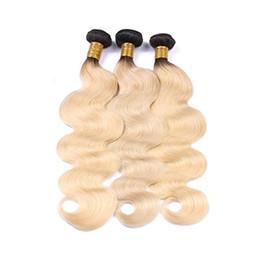 $enCountryForm.capitalKeyWord UK - Body Wave Brazilian Virgin Weave Ombre Human Hair Bundles #1b 613 3budles Black to Blonde Human hair