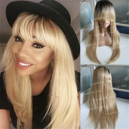 human hair lace wigs full fringe NZ - High Quality 1B 27 Peruvian Straight Human Hair Ombre Dark Roots Full Lace Wig with Fringe Free Shipping