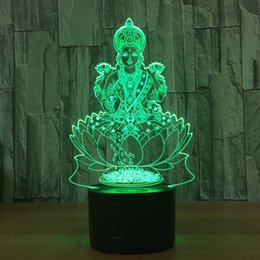 moon buttons Canada - 3D Bodhisattva Lamp Night Lamp 7 RGB Colorful Lights USB Powered with 5th Battery Bin Touch Button Wholesale Dropshipping