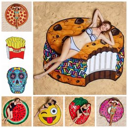 wholesale towels free shipping 2019 - Round Beach Towel Pizza Hamburger Skull Ice Cream Strawberry Pineapple Watermelon Beach Towels Blanket Shawl Free DHL Sh