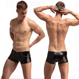 Barato Underwear Preto Cuecas Boxer-Hot New Sexy Men's Underwear Preto PU Boxer Boxer Moda Briefs Underpants Tamanho Run Small 5pcs