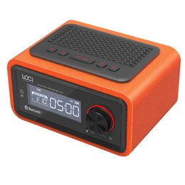 Wooden Radio Canada - Luxury iBox H90 Wooden Bluetooth Speaker Cabinet PU leather with Calendar Alarm clock FM Radio Hands-free Mic Wood combine Leather Subwoofer