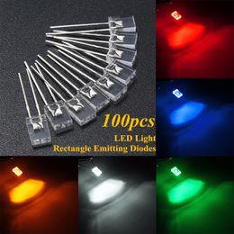 100pcs 2x5x7mm Red Water Clear Rectangle Rectangular LED Leds Resistor for 12V