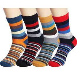 Sock Packs Australia - 4 Pack Unisex Colorful Stripe Cotton Ankle Casual Crew Socks Vintage Style Sport Sock