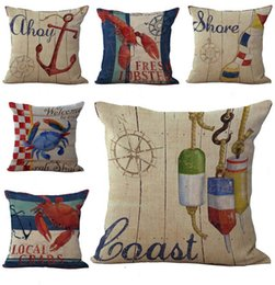 Wholesale Beach Sign Crabs Boat Anchor Throw Pillow Cases Cushion Cover Pillowcase Linen Cotton Square Pillow Case Pillowslip Home Sofa Decor