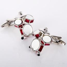 Discount plated mens silver cufflinks - Red Drums Cuff Links Enamel Cufflinks Mens Fashion Accessories Mens Gifts Cuff-links Personality Mens Gifts Cuff-links
