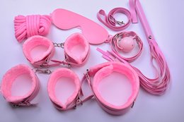 Sm Ball Mag Pas Cher-SM Bondage Restraint Set 7PCS / SET Plush Slave BDSM Sex Game Toy BDSM Roleplay Handcuffs Whip Rope Blindfold Ball Gag