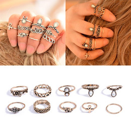online shopping Bohemian Pack Vintage Elephant Moon Rings Lucky Stackable Midi Rings Set of Rings for Women Jewelry Party