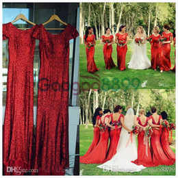China Red Sequined Sparkly Country Boho Bridesmaid Dresses 2019 Modest Backless Mermaid Cap Sleeve Junior Wedding Party Guest Gowns Cheap cheap gold ivory mermaid junior bridesmaid dresses suppliers