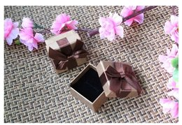 Gift Boxes For Jewelry Set Canada - Quality Coffee Ring Box with Bow Vintage Elegant Packing Gift Box for Rings Stud Earrings Jewelry Set Wholesale 12pcs lot BX-12
