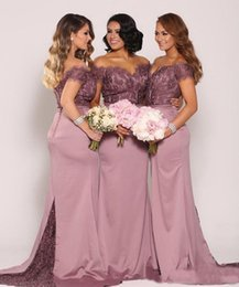 Barato Barato Couture Vestidos-New Couture Mermaid Lace Bridesmaid Dresses Plus Size Cheap Formal Maid of Honor Vestidos Backless Long Off the Shoulder Bridesmaids Vestidos