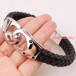 "$enCountryForm.capitalKeyWord Canada - Wholesale- 8.66""*12mm 47g Hot Selling 316L Stainless Steel Silver Handcuffs Biker Jewelry Genuine Black Leather Men's Boy's Bracelet Bangle"