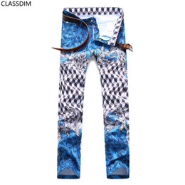 Chinese  Men's Cotton Fashion 3D Printing Casual Jeans Micro Stretch Skinny Teen Nightclub Style Casual Pants Size 29-36 manufacturers