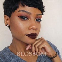 Discount real cut human hair - 100% virgin Brazilian Full Lace Wig real Lace Front Human short hair Wig pixie cut Short wig With Baby Hair For Black Wo
