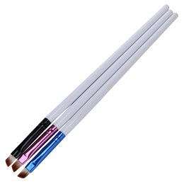 acrylic nail art tools UK - Wholesale- 3Pcs set Nail Pen Brush Oblique Head Acrylic UV Gel Art Design Liner Painting Drawing Carving Builder Wood Handle Manicure Tool