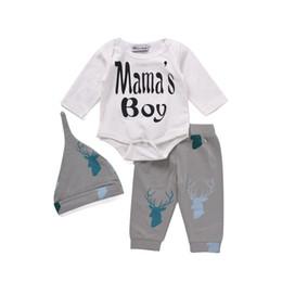 be0196e9d2e Mikrdoo Christmas Baby Newborn Clothes Kids Letter Mama s Boy Long Sleeve  Romper Deer Pants Hat 3pcs Toddler Tracksuit Infant Clothing Suit