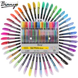Painting Pastels Canada - Bianyo 48Pcs Gel Pen Set Refills Metallic Pastel Neon Glitter Sketch Drawing Color Pen School Stationery Marker For Kids Gifts