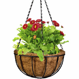 Wrought Iron Flowers UK - Wrought Coconut Half Round flowerpot Hanging Pots Window Rattan Decorative Pots Wall Iron Garden Plant Planter Flower Basket