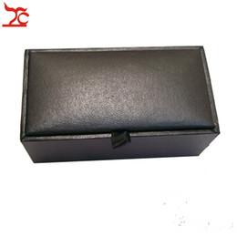 $enCountryForm.capitalKeyWord Canada - Wholesale 100Pcs Men's Cufflinks Box Classica Black Cufflink Package Storage Gift Boxes Elastic Holder Cufflink Cases 8x4x3cm