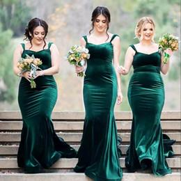 Discount red velvet wedding dresses - Dark Green Velvet Bridesmaid Dresses Elegant Sweetheart Ruched Sleeveless Mermaid Wedding Party Dresses 2017 Maid Of Hon