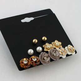 vision alloy 2019 - fashion vision Sweet Flower Shell Pearl Earrings Hot Sale Promotion Stud earring Female Gift Bijoux 6pair set model no.