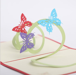 handmade cards for wedding day NZ - 10pcs Hollow Butterfly Handmade Kirigami Origami 3D Pop UP Greeting Cards Invitation card For Wedding Birthday Party Gift