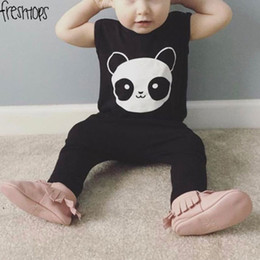 Vêtements D'été Vêtements Bébé Pas Cher-Toddler Boy Dress Set Summer 2017 Cartoon Panda T-shirts à manches courtes + Pantalons noirs 2pcs Kids Baby Clothes Girl Clothing Sets