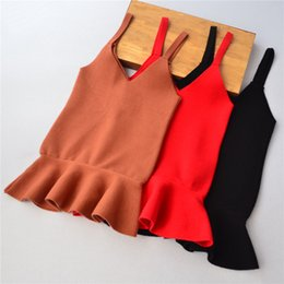 Barato Knits Baby Suspenders-Everweekend Lovely Girls Solid Color Suspender Dress Baby Girls New Autumn Knitting Ruffles Princess Children Dress