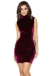 $enCountryForm.capitalKeyWord UK - 2018 new high collar velvet short mini cocktail party dresses with side lace up club wear prom gowns