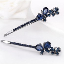 Flower Girl Rhinestone Hair Clips Australia - New Arrivals Vintage Flower Butterfly Bowknot Shape Rhinestones Crystals Hair Clips Hairpins for Girls Women Party Hair accessories