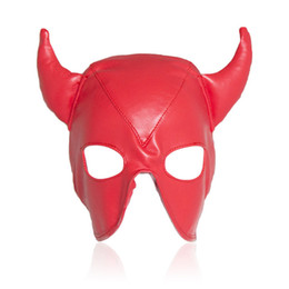 Chinese  2017 New Adult Games Leather Sex Mask Crazy Bull BDSM Bondage Mask Erotic Toys Restraint Hood Sex Toys For Couples manufacturers