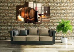 canvas hd print frame Australia - Framed 4 Panel Modern HD Art Painting Canvas Wine candles Printed on High Quality Canvas,For Home Wall Decor size can be customized