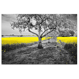 $enCountryForm.capitalKeyWord Australia - 1 Panel HD Printed Golden Rape Flower Canvas Prints Black and White Tree Countryside Scenery Cheap Dropship Wall Picture SJMT1889