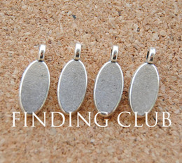Metal Stamp Gold Canada - Wholesale-Free Shipping! 30 pcs Antique Silver Metal Oval Blank Stamping Tag Charms Jewelry Making Findings 15x6mm A938