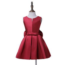 hot necked girl photo UK - Free shipping Hot sale Flower Girl Communion Dress A-line satin dresses cute bow A-line girl dress