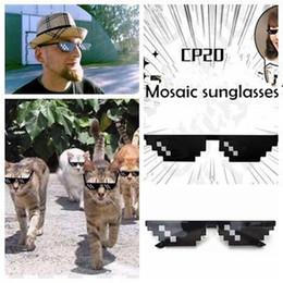 wholesale pixel sunglasses 2018 - Fashion Stylish big Boys Girls Sunglass Anime Mosaic sunglasses Halloween 8 Bit Pixel Deal With IT glasses YYA416 discou