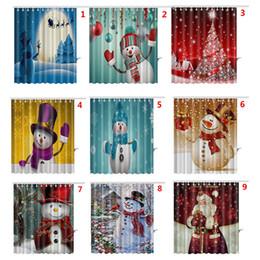 Christmas Curtain Style 2018   Waterproof Shower Curtain 3D Printed  Bathroom Christmas Snowman Shower Curtain With