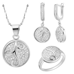 $enCountryForm.capitalKeyWord Canada - Plated NEW suit 925 sterling silver set made of Austria crystal high-end jewelry micro Inlay Ring Earrings