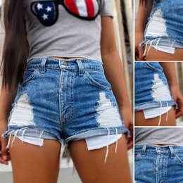 High Waist Ripped Shorts Wholesale Canada - Wholesale- UK Seller Sexy Women Jeans Vintage High Waist Hole Short Jeans Denim Sexy Shorts