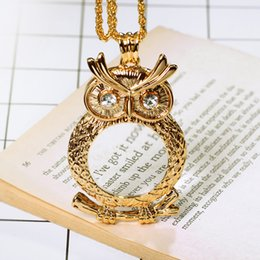Glass Magnifier Gold Canada - New Magnifying glass necklace women's fashion Owl pendant Gold and Rhodium with crystal Magnifier necklace