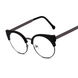 b90a19ab44 Wholesale- Fashion Women Brand Designer Cat s Eye Glasses Half Frame Cat  Eye Glasses Women Eyeglasses Frames High quality Grau F15010