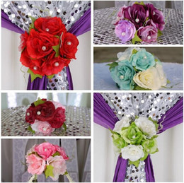 Wall Curtains Canada - Free Shipping Beautiful Artificial Rose Silk Flower Gauze Curtain Clip Wedding Prop Backdrop Decoration 12pcs lot