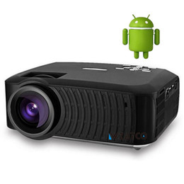 Atco Android Projector NZ - Wholesale-ATCO Projector 2200 Lumens Android 4.4 Wifi Smart Mini Projector Support 1920x1080P LED Projector for Home Cinema RF45 Port