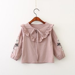 Barato Coreano Miúdos-Everweekend Girls Bow Floral Bordado Ruffles Tees Lovely Kids Pink and White Color Clothes Princesa Coreano Fashion Fall Tops