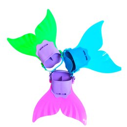 Wholesale Mermaid Fin Canada - Adjustable Mermaid Swim Fin Diving Monofin Swimming Foot Flipper Mono Fin Fish Tail Swim Training For Kid Children Christmas Gifts in stock