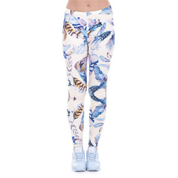 Feather Leggings Canada - Women Leggings Feather 3D Graphic Print Girl Skinny Stretchy Beige Pants Lady Gym Fitness Pencil Fit Casual Yoga Capris Trousers (J43466)