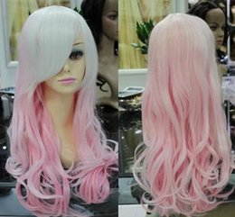 Barato Detalhe Cosplay Anime-Detalhes sobre Long Pink Curly Pink Mixed Women Heat Resistant Hair Cosplay Anime Costume Wig 374