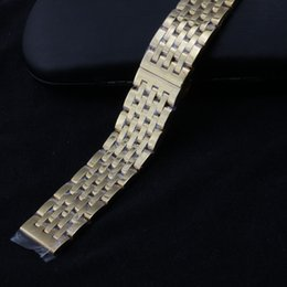 Quality 22mm Bracelet Australia - Gold Watchband Bracelet Strap 20mm 22mm Polished Stainless steel Metal Solid Links Butterfly buckle deployment High Quality watch accessory