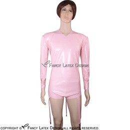 latex skinny NZ - Baby Pink Sexy Latex Leotard Rubber Swimsuit Body Suit Jumsuit Catsuit Zipper At Back Hot Sale LTY-0029