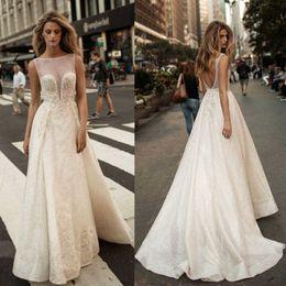 $enCountryForm.capitalKeyWord Canada - 2017 Berta Pearls Overskirts Wedding Dresses Appliqued Net Plus Size Backless Bridal Gowns A Line Wedding Dress